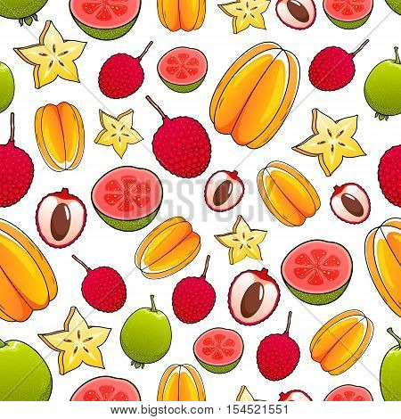 Fruits pattern. Juicy tropical exotic delicious fruits pattern of whole and sliced carambola, mango, feijoa, guava, lychee. Bright color fresh fruits seamless pattern on white tile background
