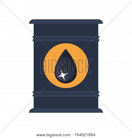 oil can container with black drop label over white background. vector illustration