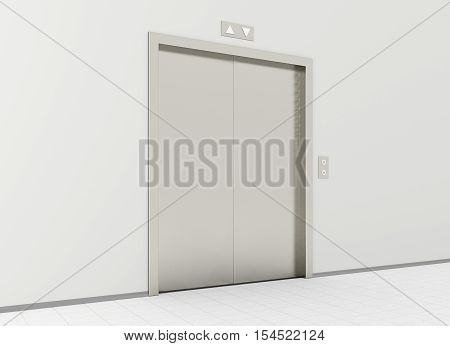 Closed elevator in office lobby. 3d illustration