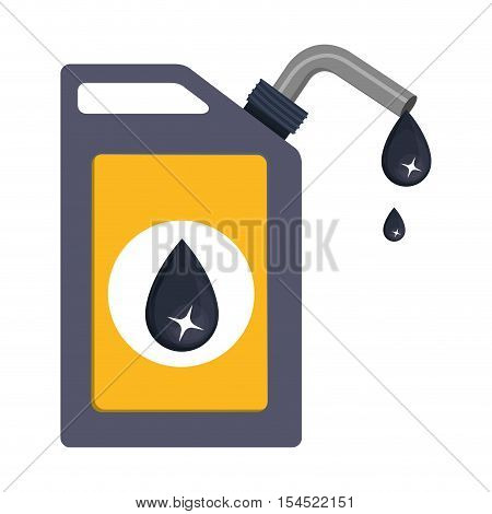 oil gallon container with label with black drop over white background. vector illustration