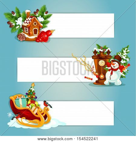 Christmas Day holiday banner with gift and xmas tree in santsa sleigh, gingerbread house with christmas bauble and pine branch, snowman with clock and cracker. Label with copy space for xmas design