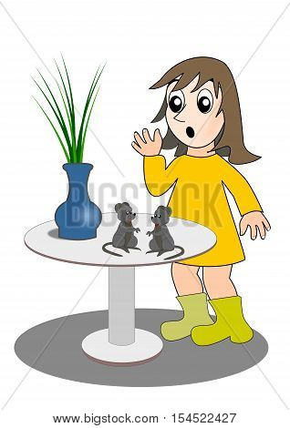 A puzzled girl watching two mice on a round table.
