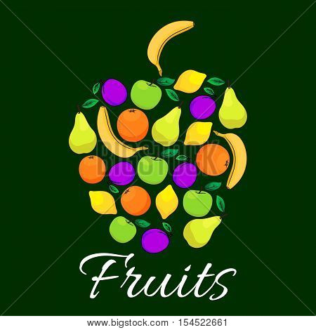 Fruits flat icons combined in shape of apple fruit. Vector fruits pattern of fresh juicy banana, grape, orange, apple, citrus lemon elements with text. Fruit label design