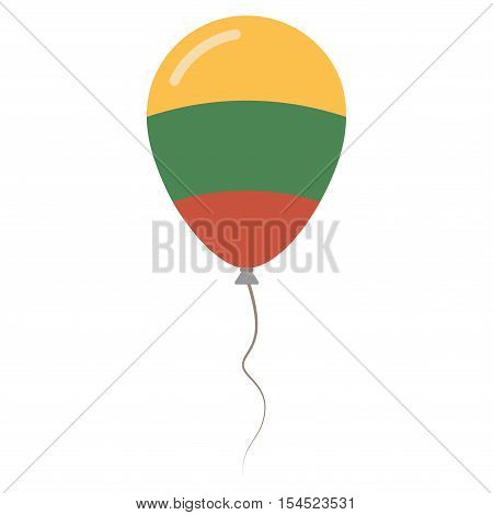 Republic Of Lithuania National Colors Isolated Balloon On White Background. Independence Day Patriot