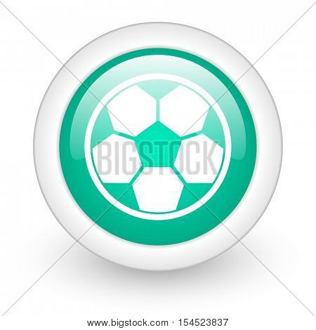 soccer round glossy web icon on white background