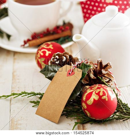 Chrismas themed tea with gift tag and decorations