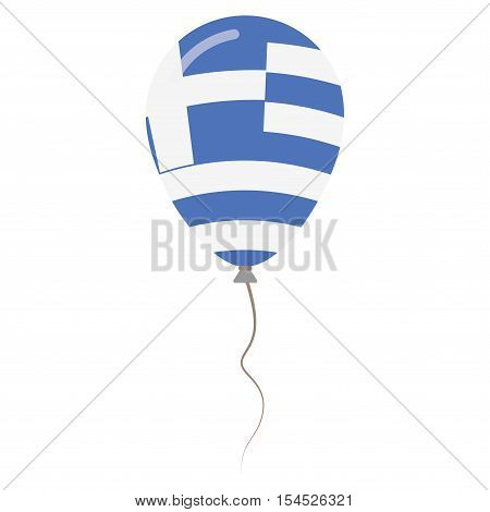 Hellenic Republic National Colors Isolated Balloon On White Background. Independence Day Patriotic P