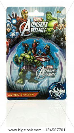 Winneconne WI - 2 November 2016: Marvel Avengers jumbo eraser on an isolated background.