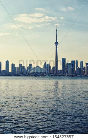 Toronto downtown cityscape in summer time at sunset