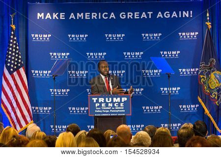 King of Prussia PA - November 1 2016: Dr. Ben Carson introduces Mike Pence candidate for Vice President who vowed to repeal and replace Obamacare at a media event at Valley Forge.