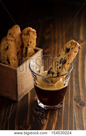 Homemade biscotti with dried fruits and nuts with coffee