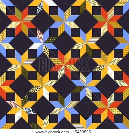 Colorful fabric quilt seamless pattern, vector background