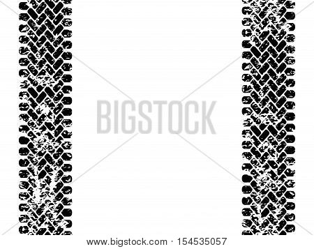 Black and white tire tread track seamless pattern, vector border