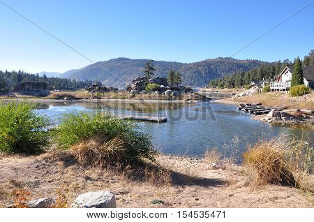 The water level is low in Boulder Bay at Southern California's Big Bear Lake.