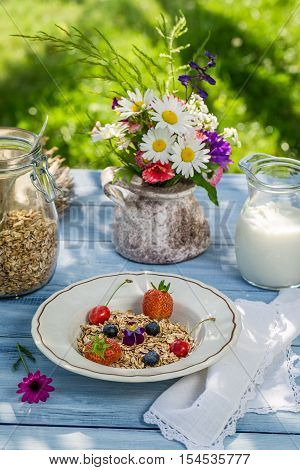 Fresh Fruit With Oat Flakes And Milk