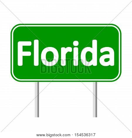 Florida green road sign isolated on white background