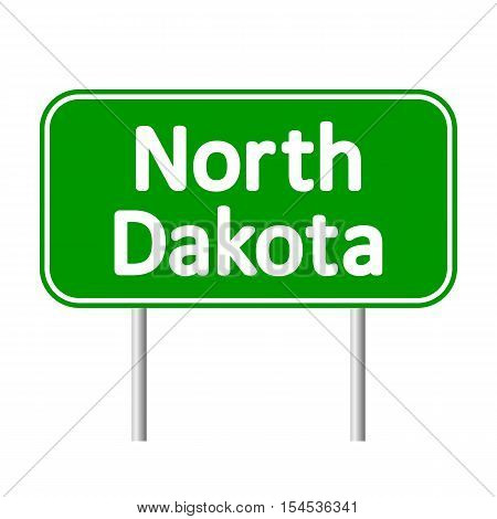 North Dakota green road sign isolated on white background