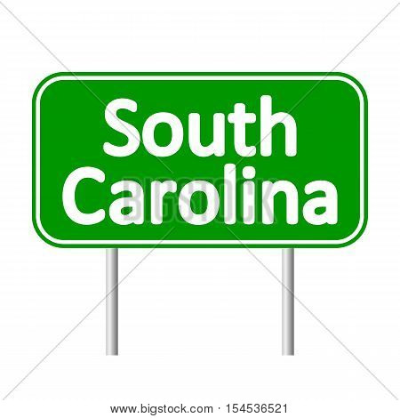 South Carolina green road sign isolated on white background