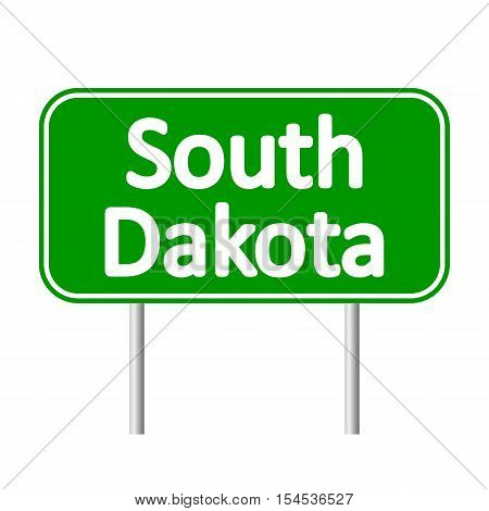 South Dakota green road sign isolated on white background