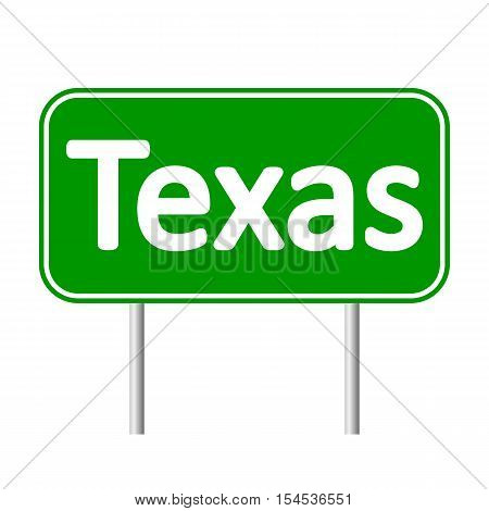 Texas green road sign isolated on white background