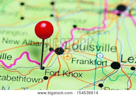 Fort Knox pinned on a map of Kentucky, USA