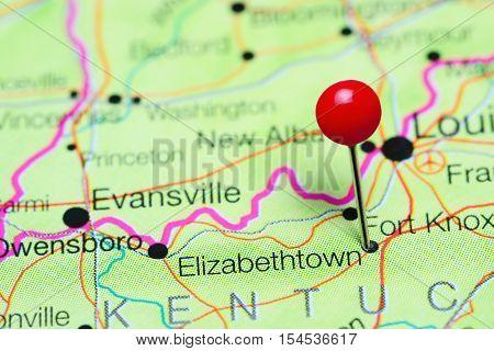 Elizabethtown pinned on a map of Kentucky, USA