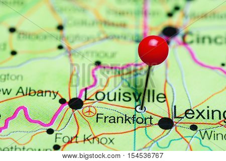 Frankfort pinned on a map of Kentucky, USA