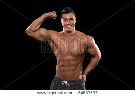 Portrait Of A Bodybuilder Isolate On Black Blackground