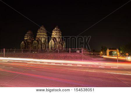 Phra Prang Sam Yot Temple At Night, Architecture In Lopburi, Thailand