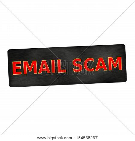 email scam red wording on black wood background