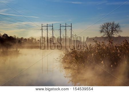 Dawn on the river autumn mist sky river