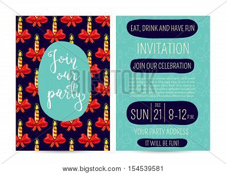 Inflamed stripped candles on ribbon bow cartoon vectors. Merry Christmas and Happy New Year greetings. Template of christmas party invitation. Design for christmas party invintation. Christmas concept. Ad for christmas party. Merry Christmas