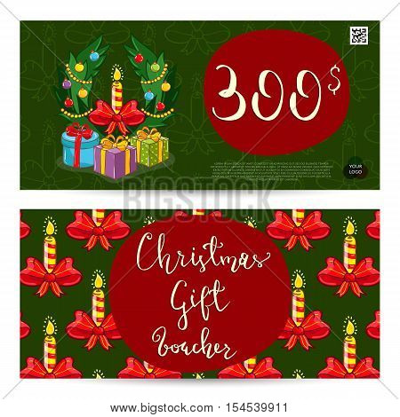 Christmas voucher template vector. Xmas gift voucher layout or discount voucher. Special offer xmas gift coupon. Christmas voucher layout. Xmas voucher. Christmas sale voucher promo xmas voucher. Voucher or coupon design. Voucher with prepaid. Ad voucher