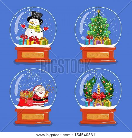 Christmas snow globes. Christmas trees in snow globes. Xmas snow globes and santa characters. Merry Christmas and Happy New Year concept. Isolated christmas snow globes with Christmas tree and Santa. Snow globes icons set. Cartoon snow globes with santa.