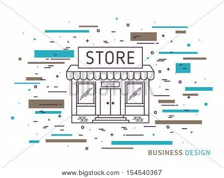 Linear flat exterior design illustration of modern designer store with windows decorative elements. Outline vector graphic concept of store exterior design.