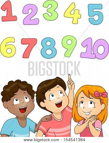 Illustration of a Diverse Group of Preschool Kids Looking at the Set of Numbers Above Their Heads