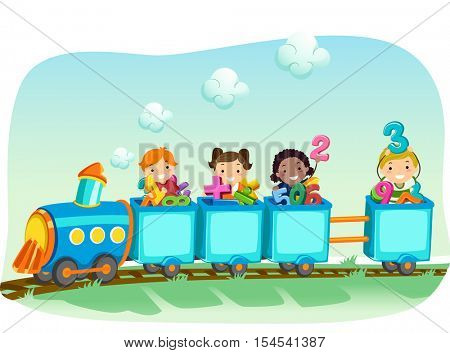 Stickman Illustration of a Diverse Group of Preschool Kids Riding a Locomotive Train