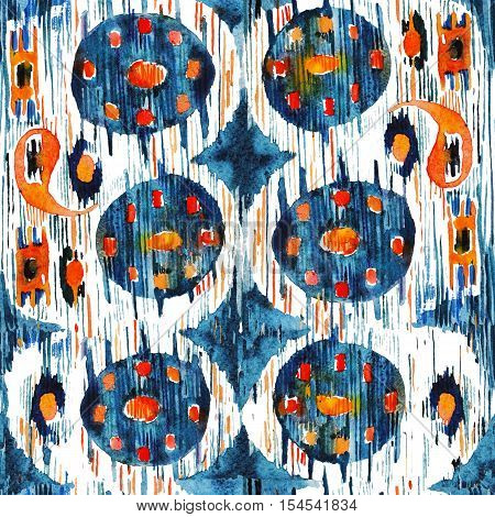 Ikat seamless bohemian ethnic pattern in watercolour style. Watercolor ikat oriental blue and orange ornaments.