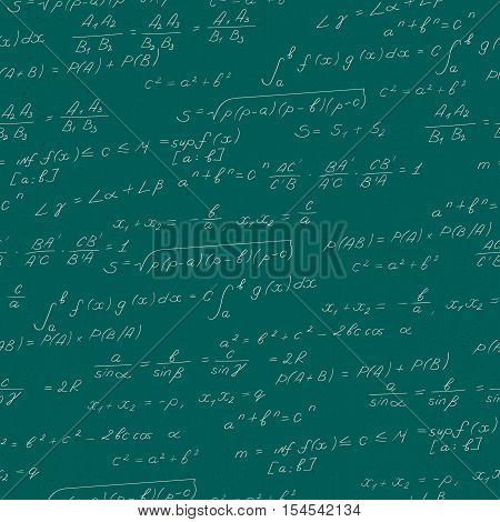 Seamless pattern on the theme of the subject of mathematics formulas theorems light characters on a green background