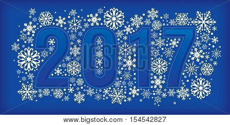 2017 new year banner with snowflakes. Vector illustration eps 10