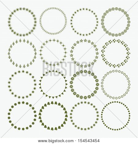 Set of circle border decorative Christmas and Holiday symbol patterns and design elements for frameworks