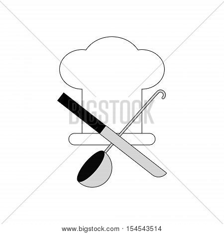 Chef hat symbol sign. Cooks hat with knife and spoon. Flat linear character Chef on a white background.