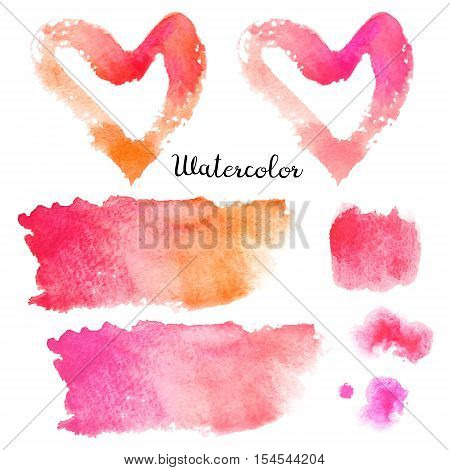 Set of watercolor blots isolated on white background. Watercolor pink and orange blots for your design.