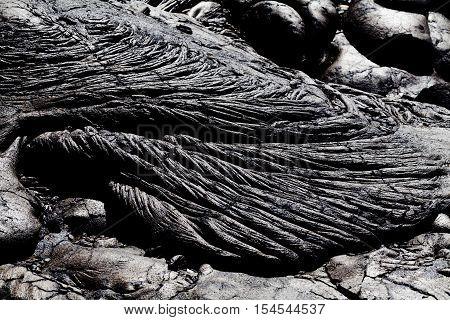 Patterns Of Cooled Black Lava Rock Big Island Hawaii