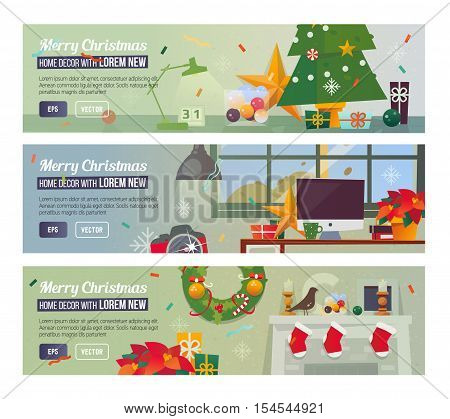 Workplace with decorations. Christmas tree. Fireplace. Christmas home decor flat design concept.
