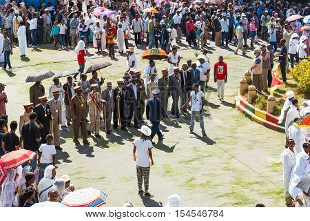 Gondar Ethiopia - January 19 2016: Local authorities attends the procession in the annual religious celebration of Timket (epiphany)
