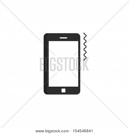 Phone ringing icon vector, ring of mobile phone pictogram, smartphone vibrating flat black and white design isolated