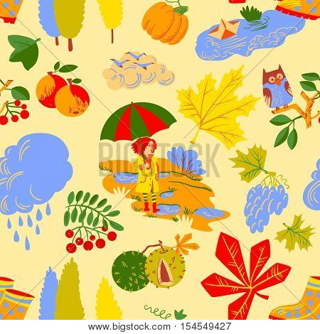Red hair girl with umbrella paper boat in the puddle rainy cloud owl on rowan branch pumpkin colorful autumn leaves with chestnuts seamless pattern. Vector background with fall season nature objects.