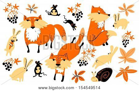 Vector set with animals and florals in children's style. Illustration with fox rabbit mouse grape leaves