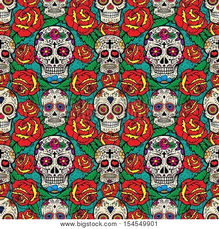 Seamless pattern with sugar skulls and roses. Day of the Dead. Vector illustration.